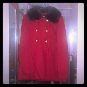 Red Pea Coat with faux fur neck warmer